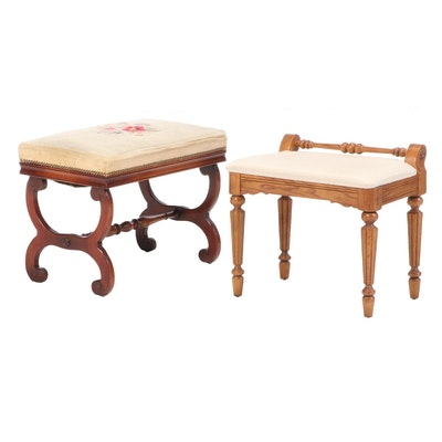 Vander Ley Brothers Mahogany and Needlework Stool Plus Young Hinkle Oak Stool