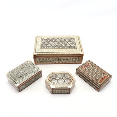 Abalone Inlaid Wooden Jewelry and Trinket Boxes