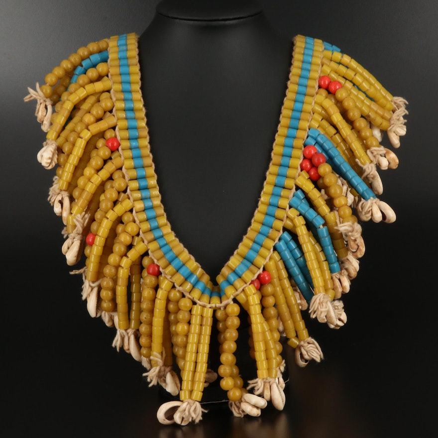 Vintage West African Beaded Glass and Cowrie Shell Fringe Necklace