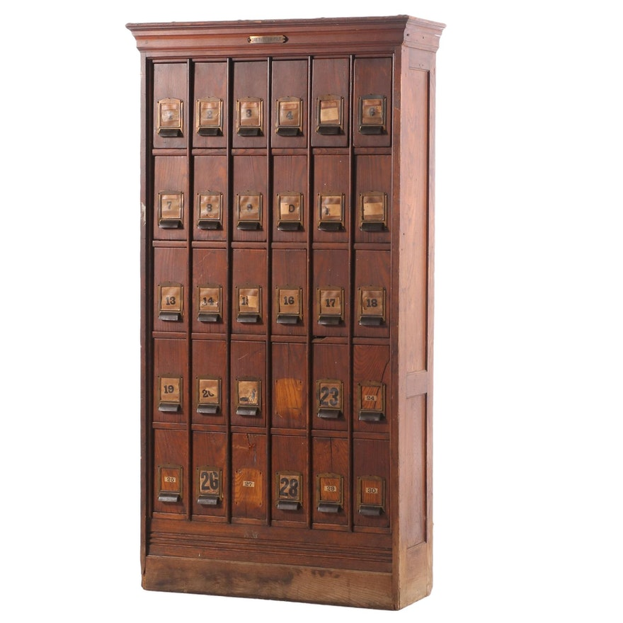 Tucker File Co. Oak Thirty-Drawer Filing Cabinet System, Early 20th Century