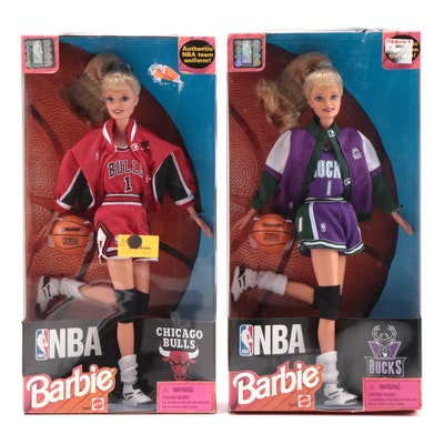Mattel Bucks and Bulls NBA Barbie Dolls in Original Packaging, 1998
