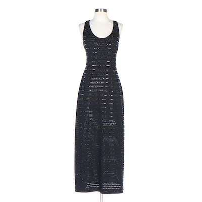 St. John Evening Embellished Black Knit Sleeveless Maxi Dress