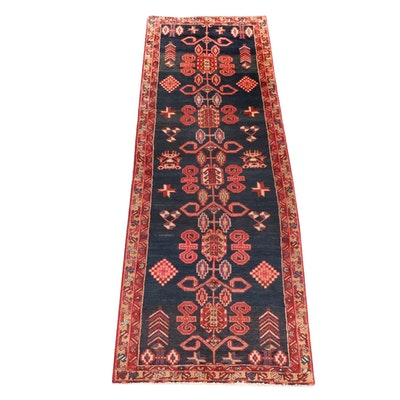 3'4 x 9'11 Hand-Knotted Persian Hamadan Wide Runner Rug