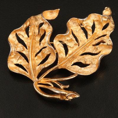 Vintage Dimensional Leaf Brooch