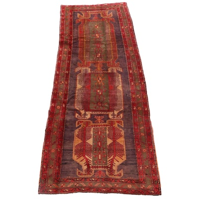 4'2 x 10'8 Hand-Knotted Persian Hamadan Rug, Mid to Late 20th Century