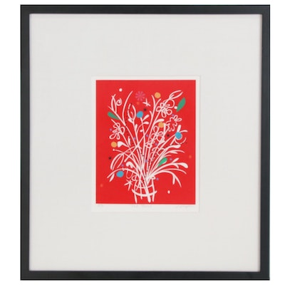"""Laurie Wright Serigraph """"Red Floral"""", circa 2012"""