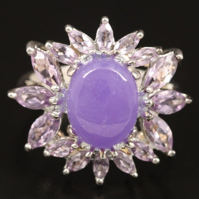 Sterling Silver Lavender Jadeite and Amethyst Ring