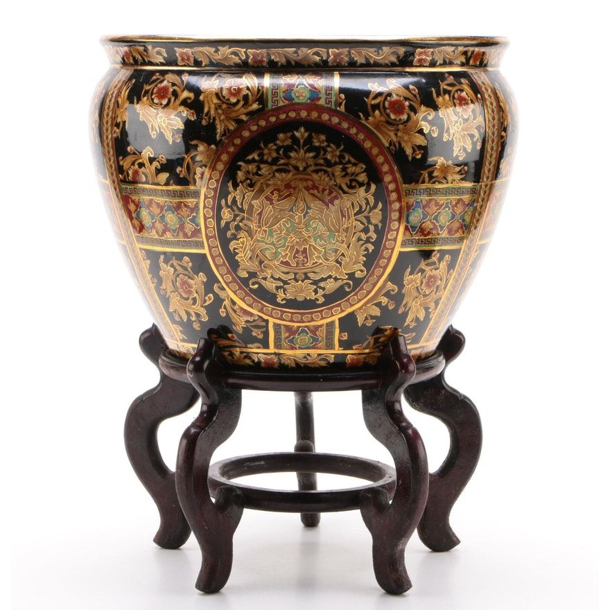 Chinese Hand-Painted Ceramic Gilt Fish Bowl Decorative Planter with Stand