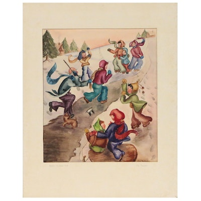"Mae Benjamin Watercolor Painting ""Dickens' Christmas Carol"", Mid 20th Century"