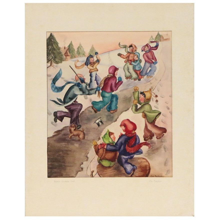 "Mae Benjamin Watercolor Painting ""Dickens' Christmas Carol"", Mid 20th Century"