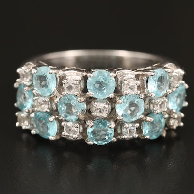 Sterling Apatite and White Topaz Ring