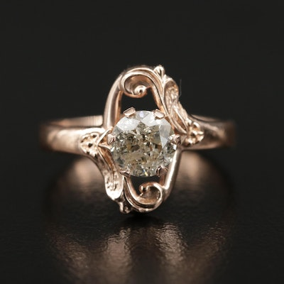 Vintage Russian Gold 1.00 CT Diamond Ring