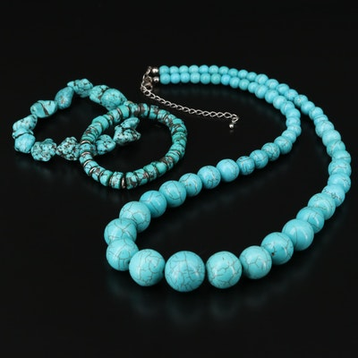 Magnesite and Imitation Turquoise Necklaces and Bracelet Selection