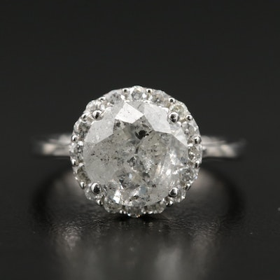 14K White Gold 3.48 CTW Diamond Ring with Diamond Halo