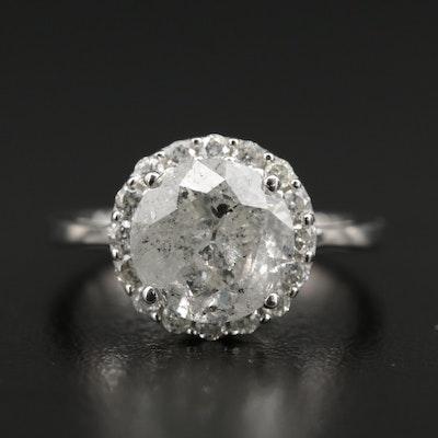 14K White Gold 3.48 CTW Diamond Ring with Diamond Halo