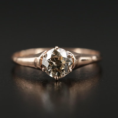 10K Rose Gold 0.80 CT Diamond Solitaire Ring