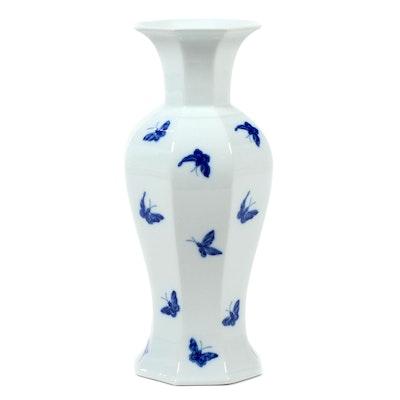 "Mottahedeh Vista Alegre ""Blue Butterfly"" Porcelain Vase, Late 20th Century"