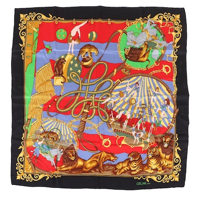 Celine Paris Silk Scarf in Circus Print