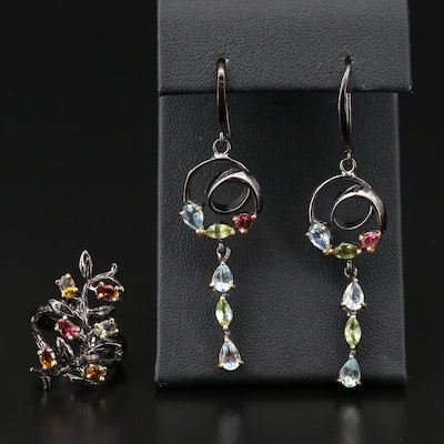 Sterling Silver Tourmaline, Topaz and Peridot Ring and Earrings