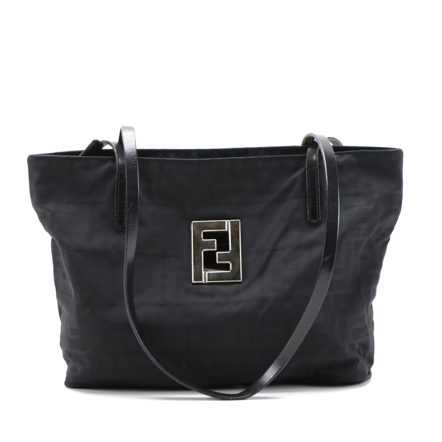 Fendi Black Zucca Nylon Logo Shoulder Bag