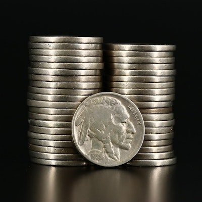 Forty Full-Date Buffalo Nickels, 1920s and 1930s