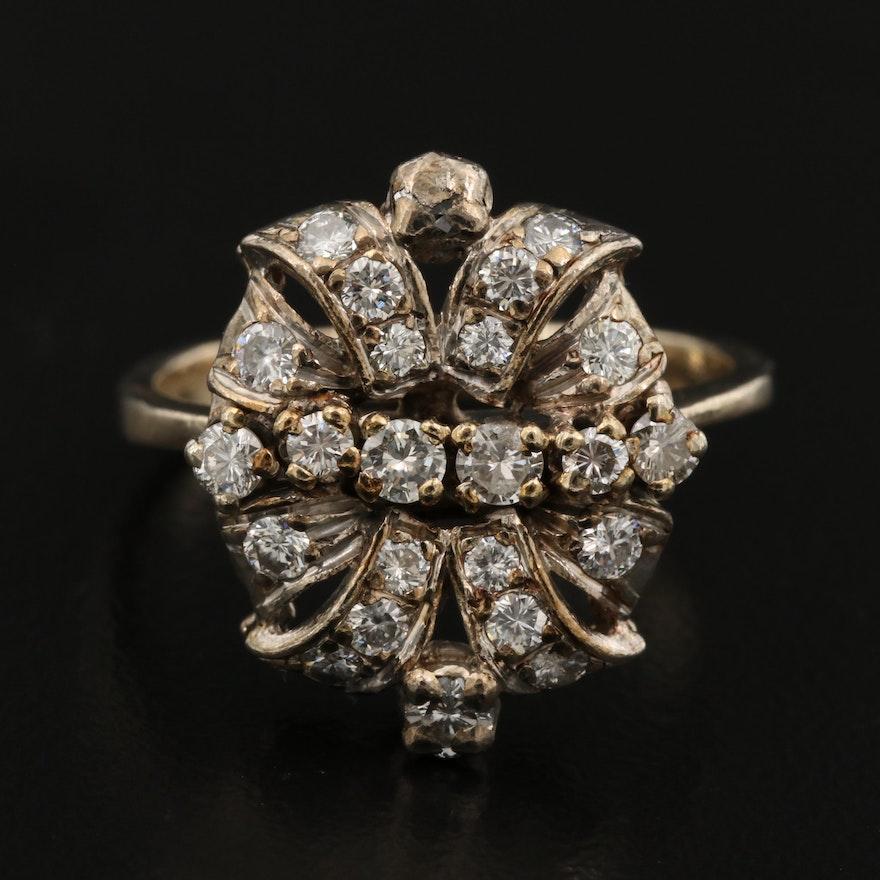 Vintage 18K and 14K 0.96 CTW Diamond Ring