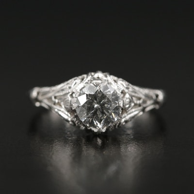 Vintage 14K White Gold 0.80 CT Diamond Ring in Scrolled Setting