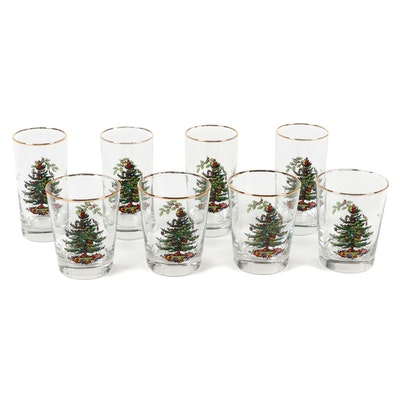 "Spode ""Christmas Tree"" Glass Tumblers, Mid to Late 20th Century"