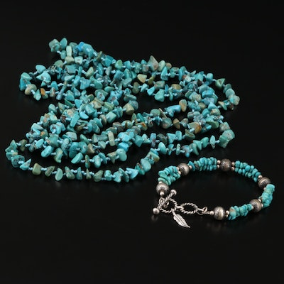 Southwestern Sterling Silver Turquoise Necklace and Relios Bracelet