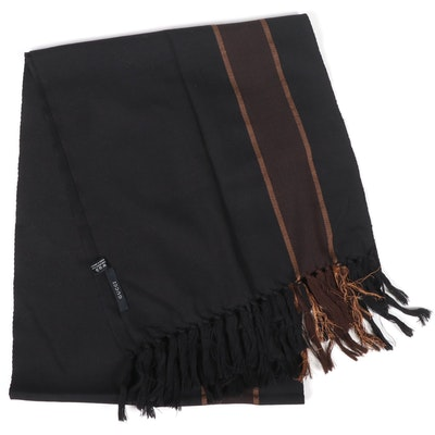 Gucci Wool and Silk Blend Black Stripe Fringed Scarf