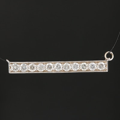 14K Diamond Bar Pendant
