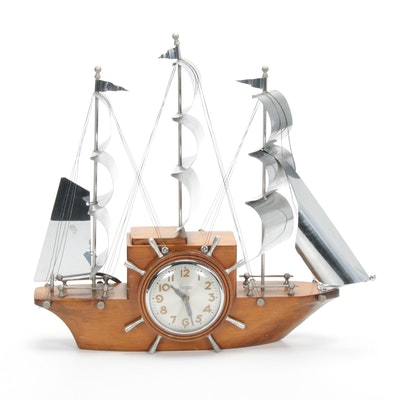 "Sessions Self Starting ""Sailing Ship"" Maple and Chrome Mantel Clock, Mid-20th C."