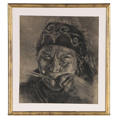 Charcoal Drawing of a Figure Smoking, Mid 20th Century