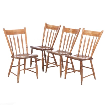 Four American Primitive Arrow-Back and Plank-Seat Side Chairs, 19th Century