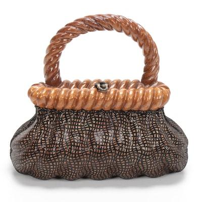 Timmy Woods of Beverly Hills Acacia Wood Handbag