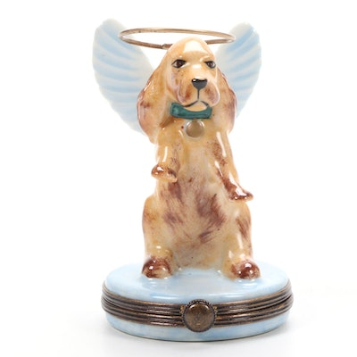 Hand-Painted Angel Dog Porcelain Limoges Box