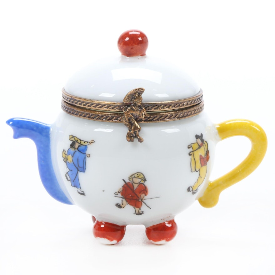 Hand-Painted Porcelain Teapot Limoges Box