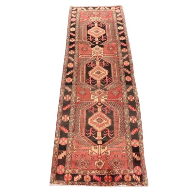 3'5 x 10'11 Hand-Knotted Persian Hamadan Wide Runner Rug, Late 20th Century