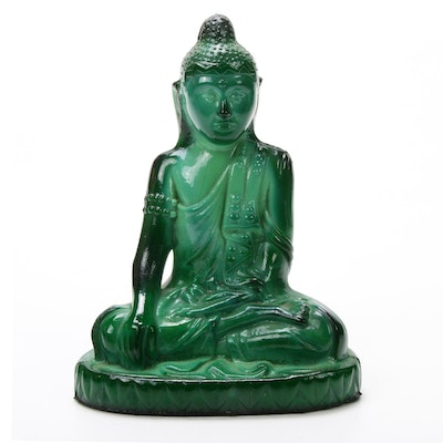 Czech Malachite Glass Buddha Sculpture, Designed by Schlevogt Hoffmann