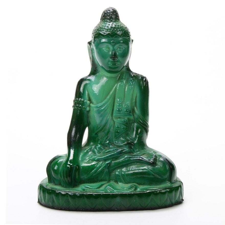 Czech Malachite Glass Buddha Sculpture, Designed by Schlevogt Hoffmann