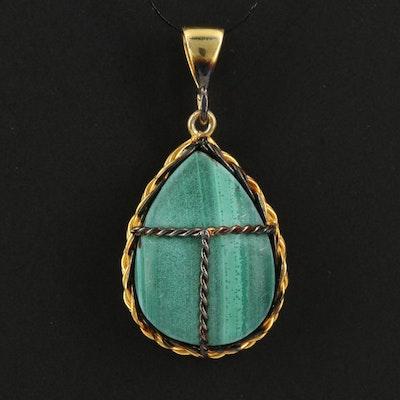 Sterling Silver Malachite Wire Wrap Pendant