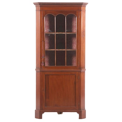 Federal Style Mahogany Corner Cabinet, 19th Century