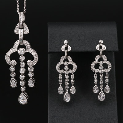 Sterling Silver Cubic Zirconia Chandelier Necklace and Earring Set