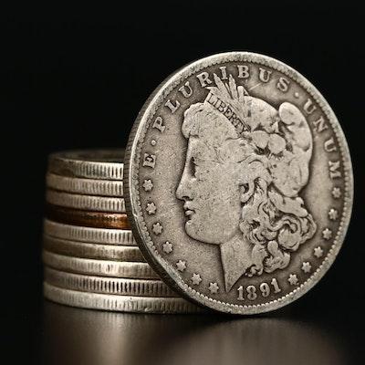 Ten Morgan Silver Dollars, 1884 to 1901