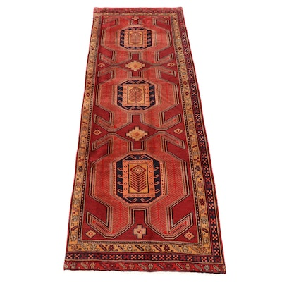 3'10 x 11'2 Hand-Knotted Northwest Persian Kazak Remnant Rug