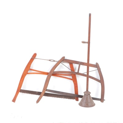 Primitive Style Wooden Buck Saws and Rapid Washer Laundry Agitator