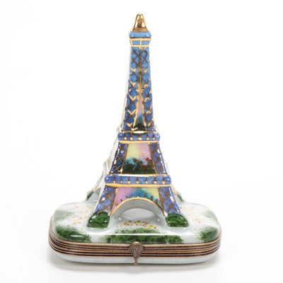 """Limited Edition La Gloriette """"Paris 1889"""" Hand-Painted Eiffel Tower Limoges Box"""