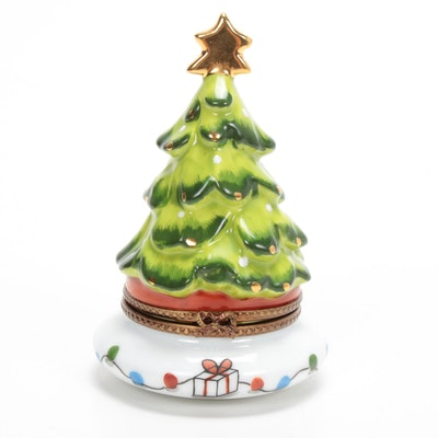 La Gloriette Hand-Painted Porcelain Christmas Tree Limoges Box