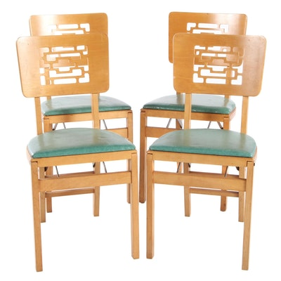 Stakmore Mid Century Modern Set of Four Folding Chairs