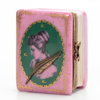 La Gloriette Hand-Painted Porcelain Book with Quill Limoges Box